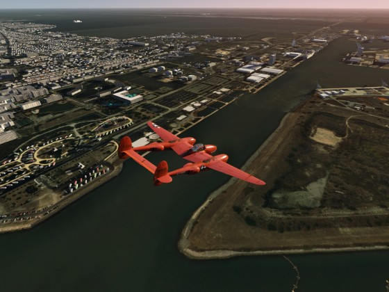 P38 Yipee - over Canaveral Harbor