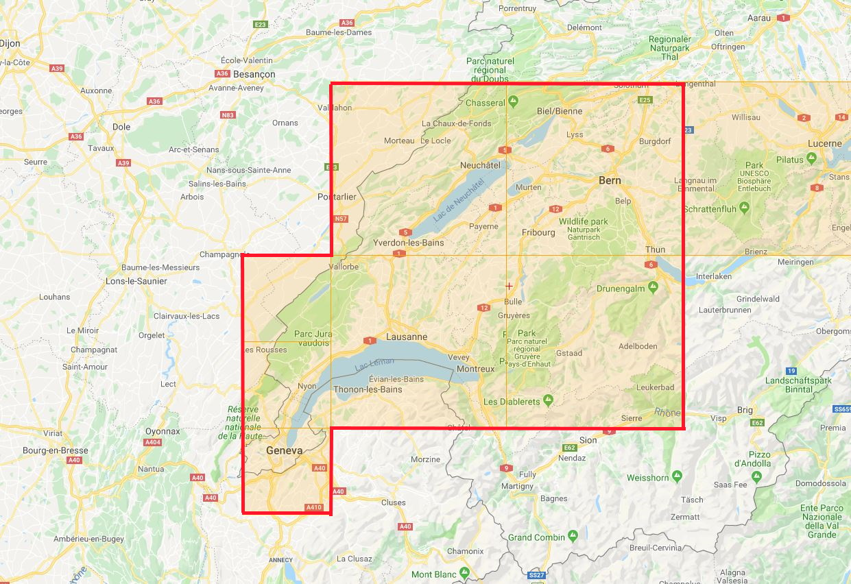 Switzerland - Neuchatel Map Coverage of Photo Scenery with Cultivation and Night Lighting