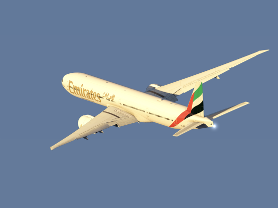Emirates B777 departing into the sunset