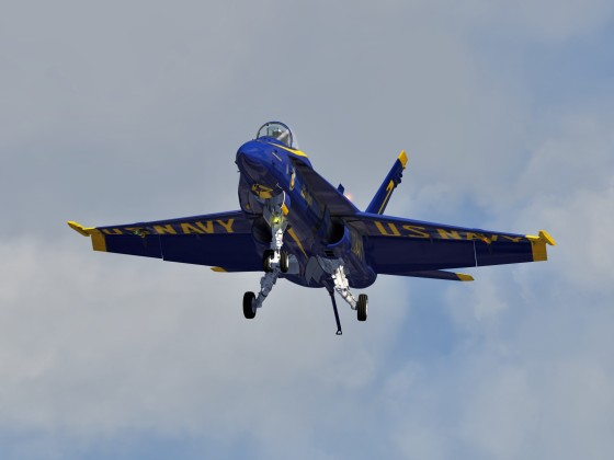 Blue Angels F-18 low pass in Carrier Landing Config