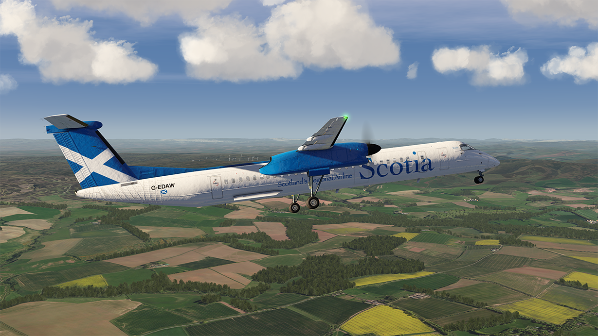 Scotia Airlines Dash 8 coming into Edinburgh.