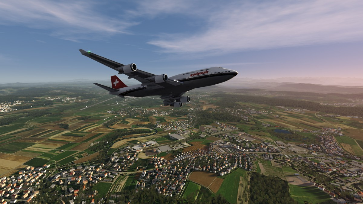 Swissair Boeing 747 in old livery flying out of Zurich