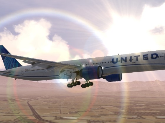 UAL new livery Landing at sunset