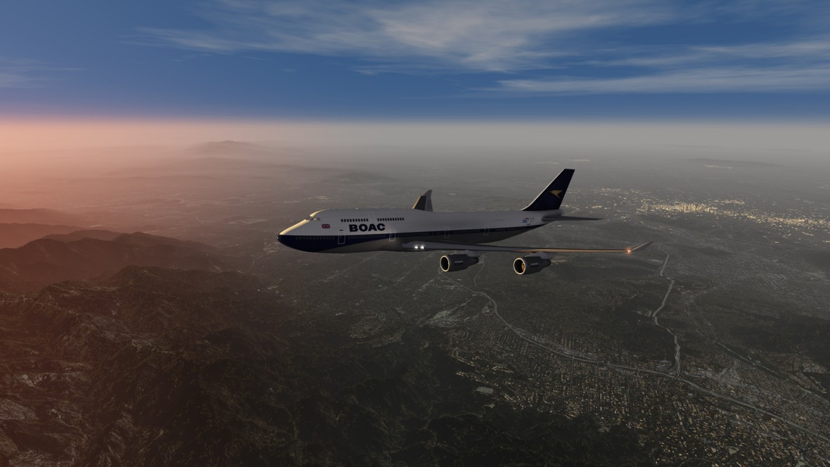 British Airways 747-400 in BOAC Heritage Livery  Leaving Los Angeles