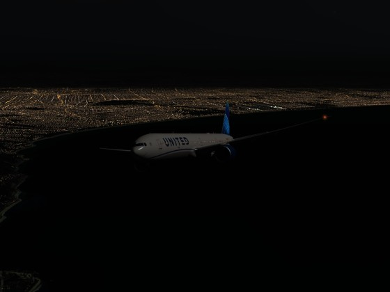 Leaving KLAX under moonlight with home made cultivation to get lights