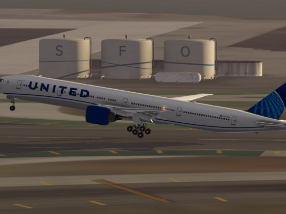 UNITED B777 Takeoff to LAX