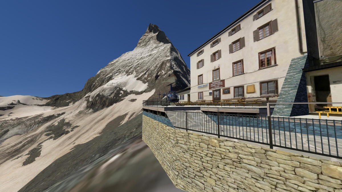 """Landing at the old """"Hörnlihütte"""" (3270 m) with view on the Matterhorn"""