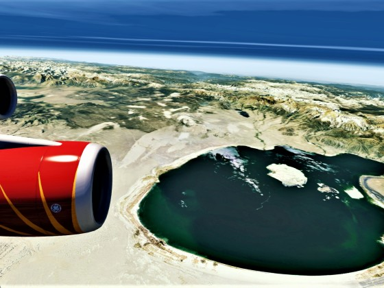 Flying Over Mono Lake in a 747-400.