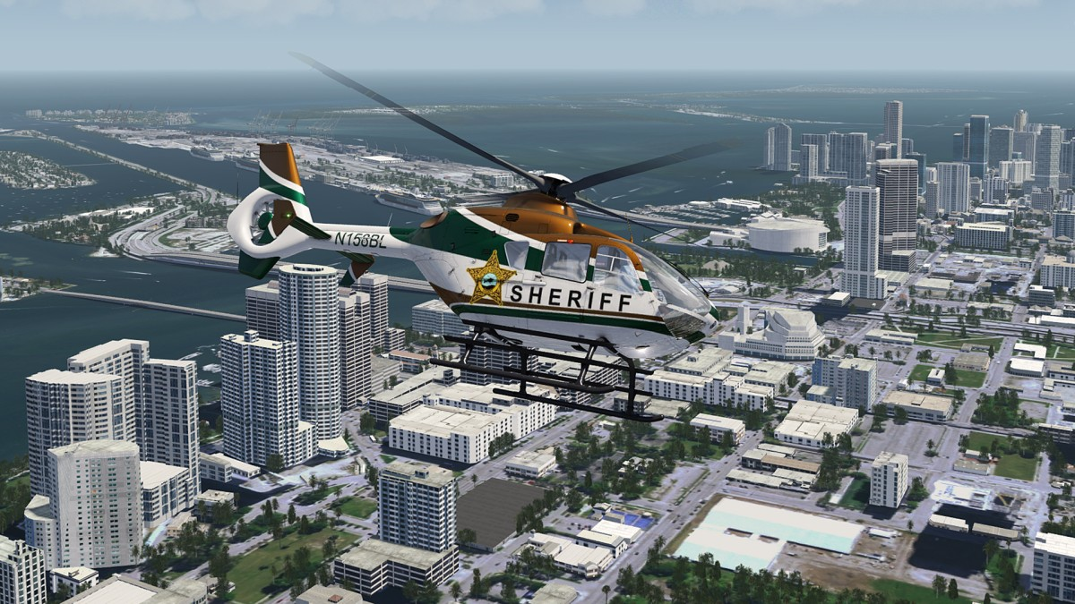 Surveillance flight over Miami City