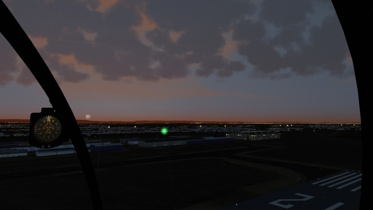 Caldwell Industrial Airport at dusk