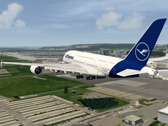 Landing with the new A380 in Zurich Airport