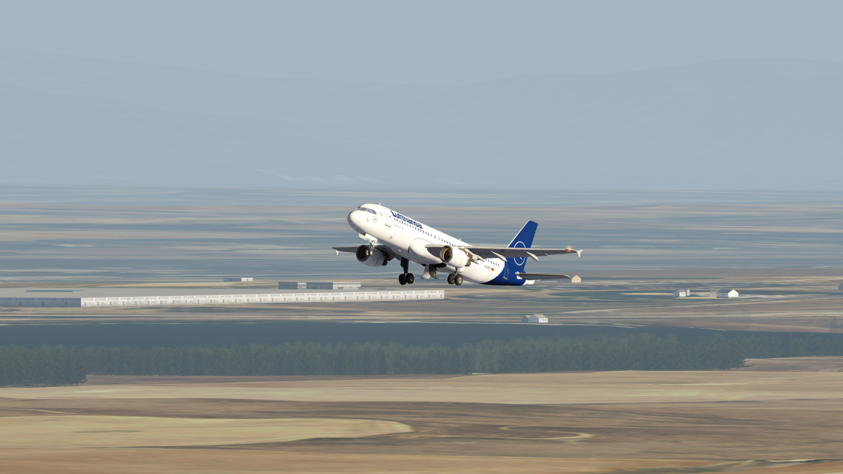 A320 taking off from denver to Zurich