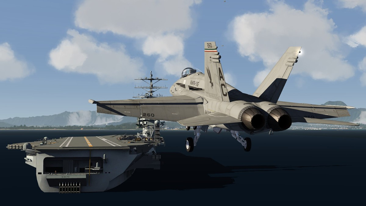 Aircraftcarrier-landing of F18 in Nth Hawaii