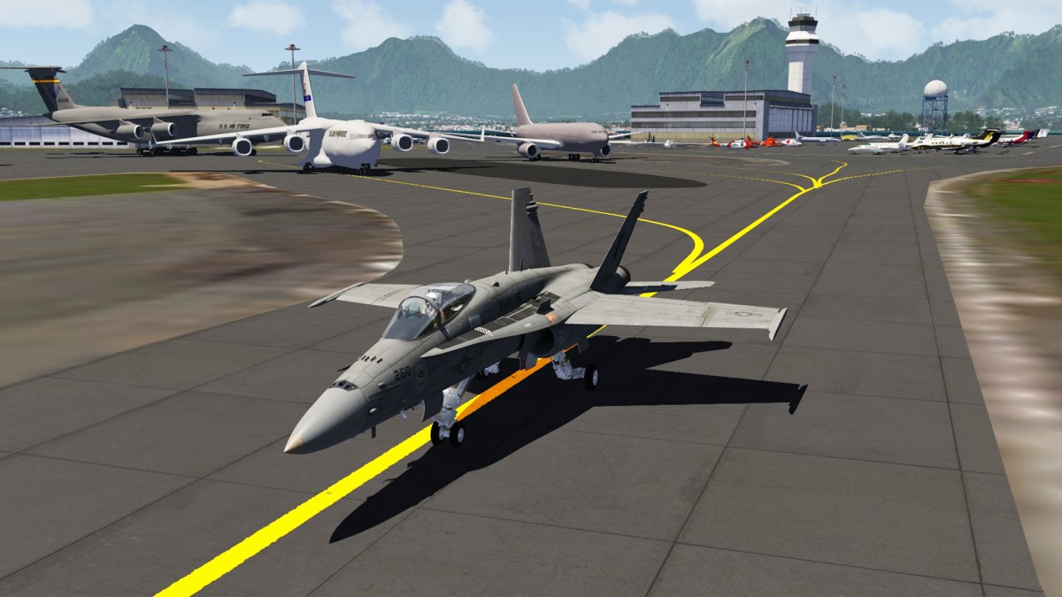 F18 taxiing on Kaneohe Bay Mcas at Nth Hawaii