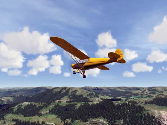 PA-11 Cub over Norway