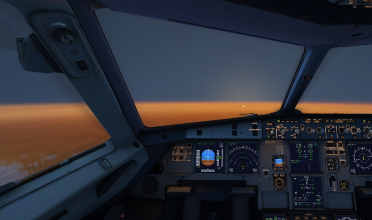 A beautiful sunset on board an A320
