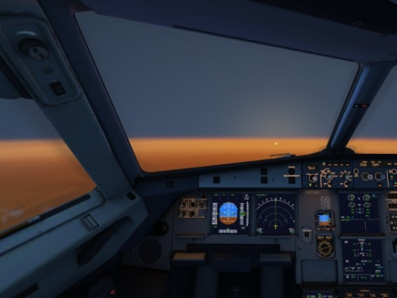 A beautiful sunset on board an A320
