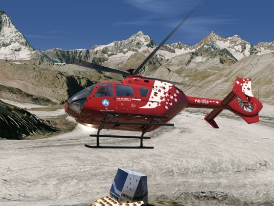 CH - Monte Rosa hut, Gorner glacier with the Matterhorn in the background - EC-135 Air Zermatt