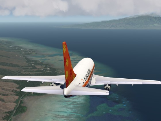 away from Molokai to Maui+B737-200