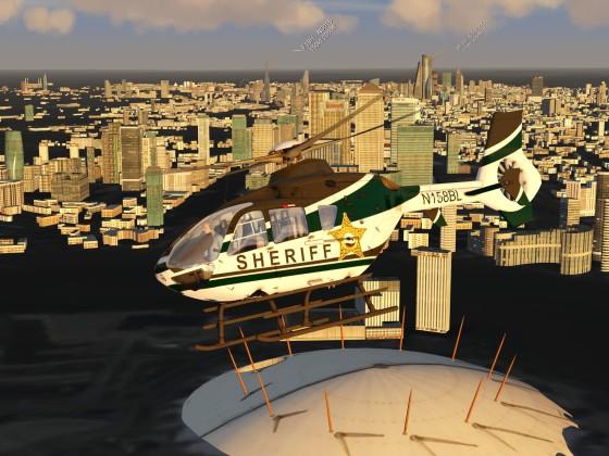 EC135 Flying over London City