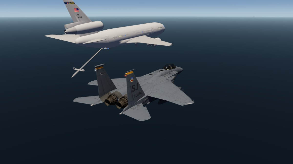Flying in formation with KC10 Tanker