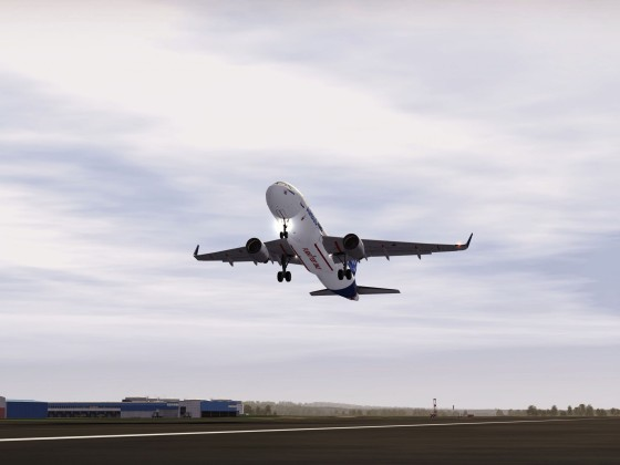 A320 Taking off for the First Flight Test