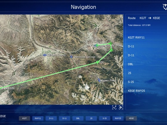 Old Navigation screen with flightplan showing bearing and distances