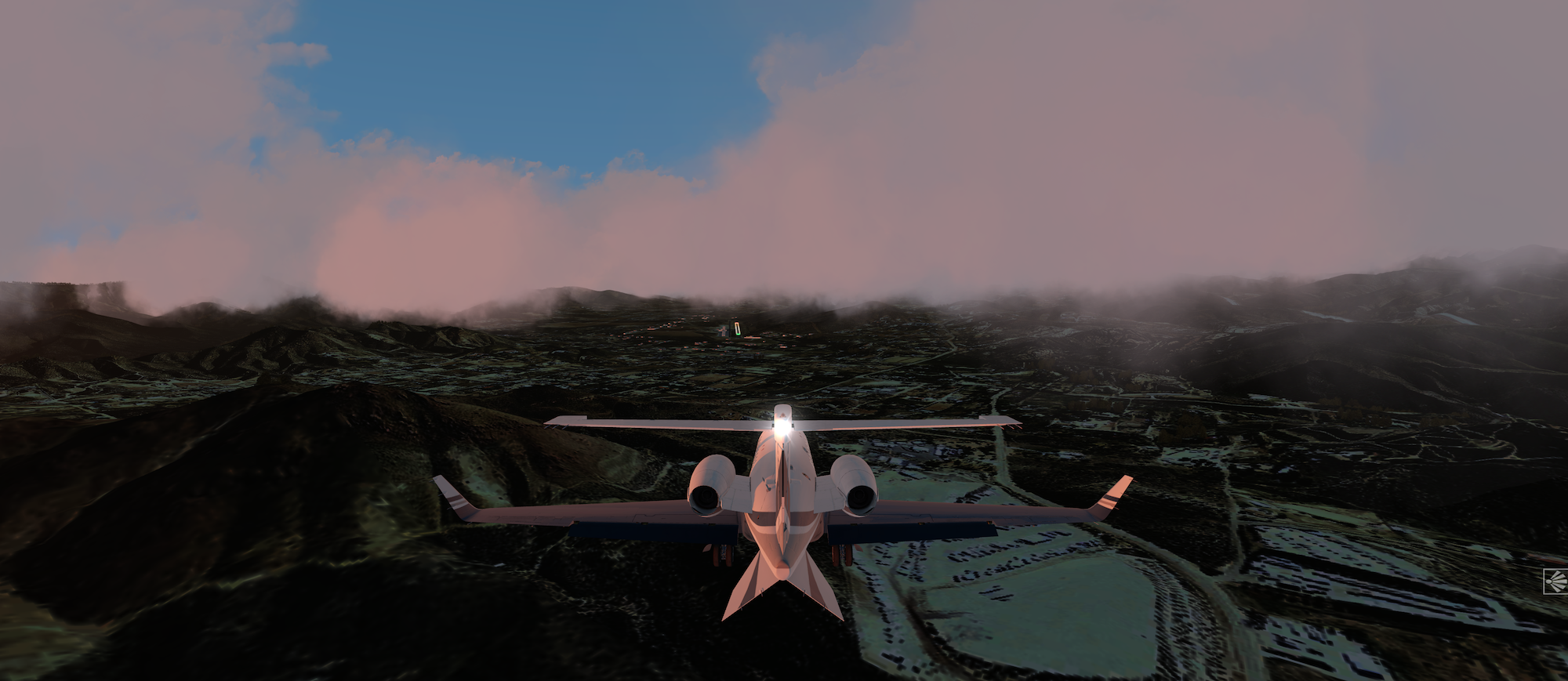 Breaking thru the clouds to land