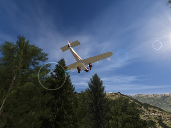 Near groud flight with Ford 5-AT Trimotor