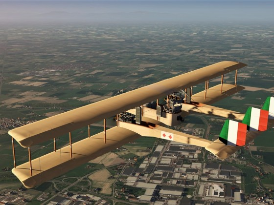 Vintage WWI bomber Caproni over sportscar-factories of Modena - Italy