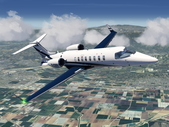Learjet 45 over California