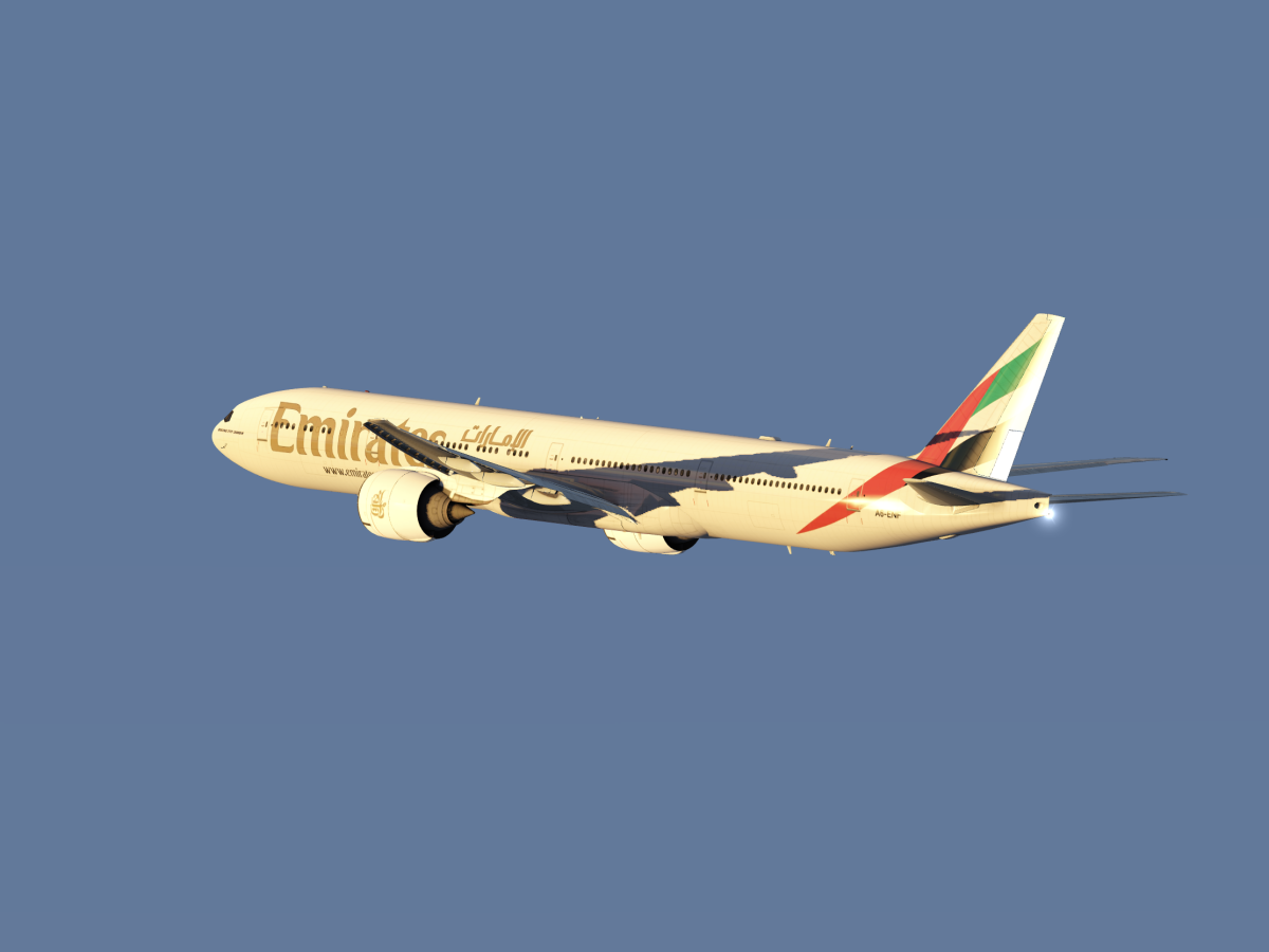Emirates B777 departing into the sunset 2