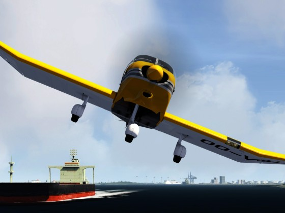 Low flying DR400 at Rotterdam-Harbor