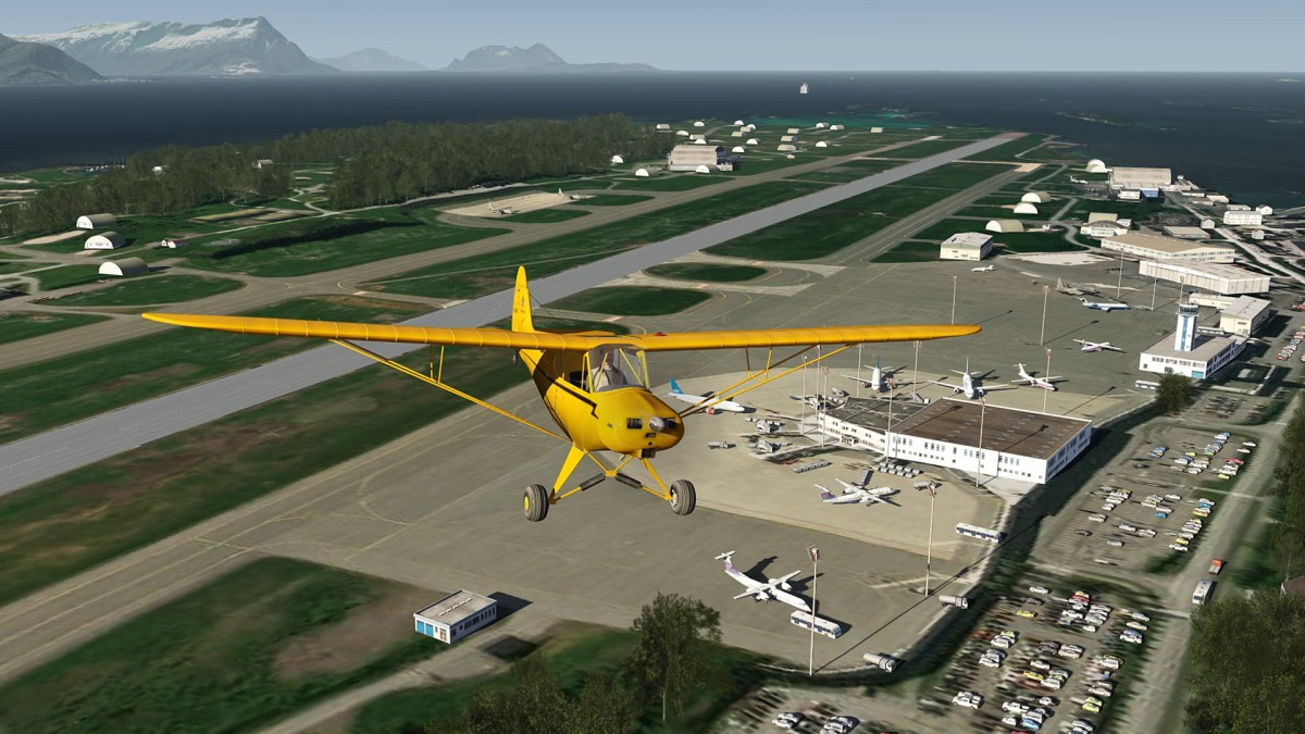 Flying Eastwards from Bodo airport-ENBO in Piper Cub