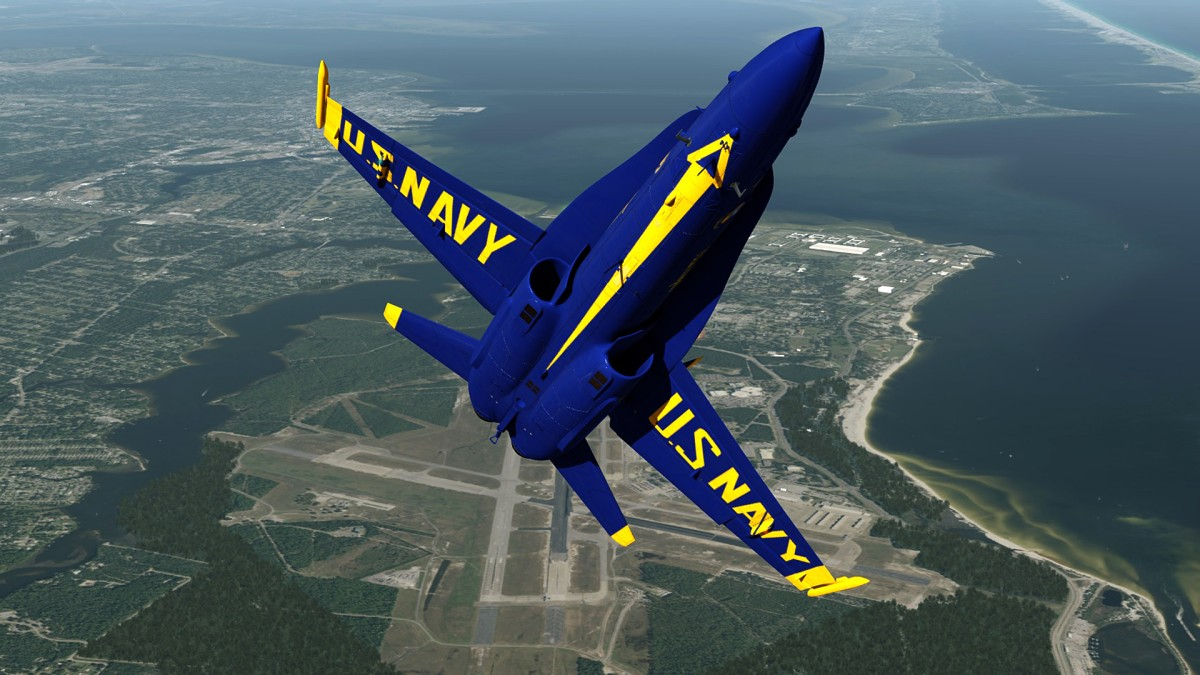 F18-Blue Angels taking heights over Pensacola