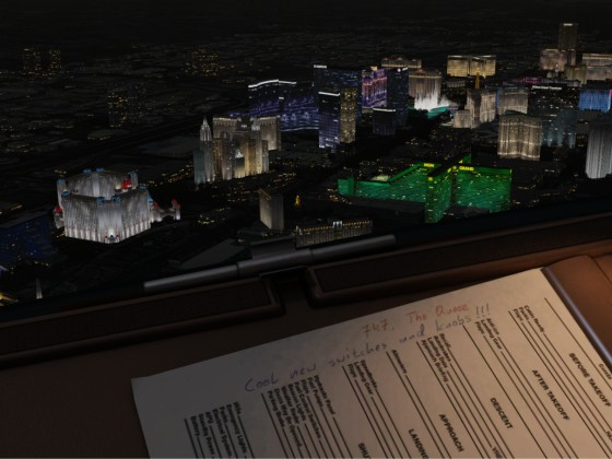 Low Pass during the night over Las Vegas -- 747