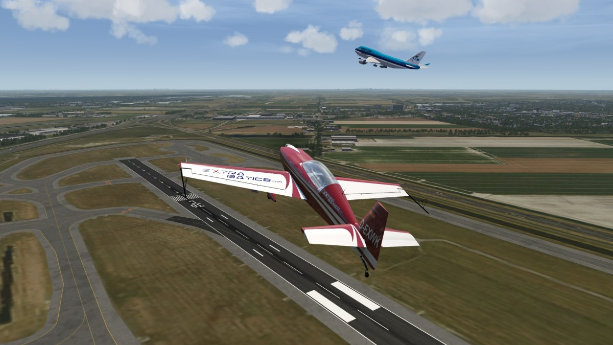 Amsterdam Airport with animated traffic
