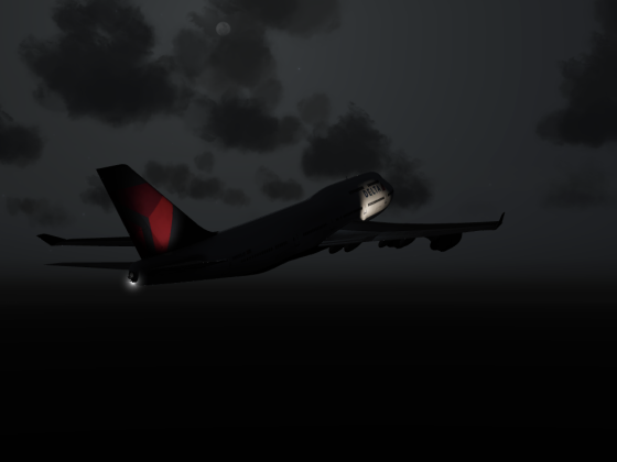 Beautiful night takeoff, Boeing 747-400