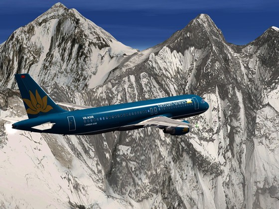 A320-Vietnam Airlines flanking the MtEverest