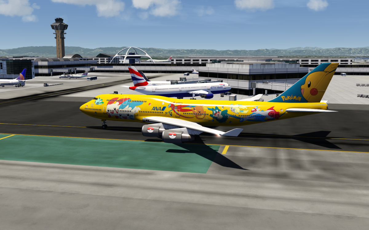 ANA Pokemon 747 livery taxiing at LAX