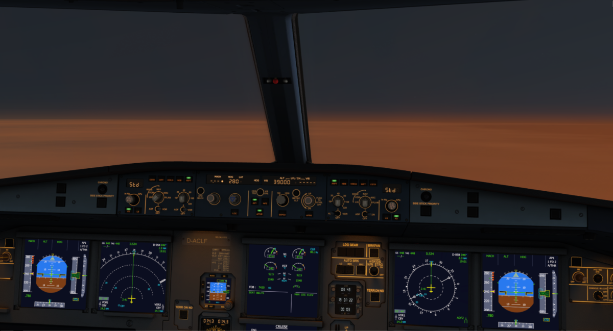 Cruising at 39,000 Feet after takeoff from Swiss Geneva
