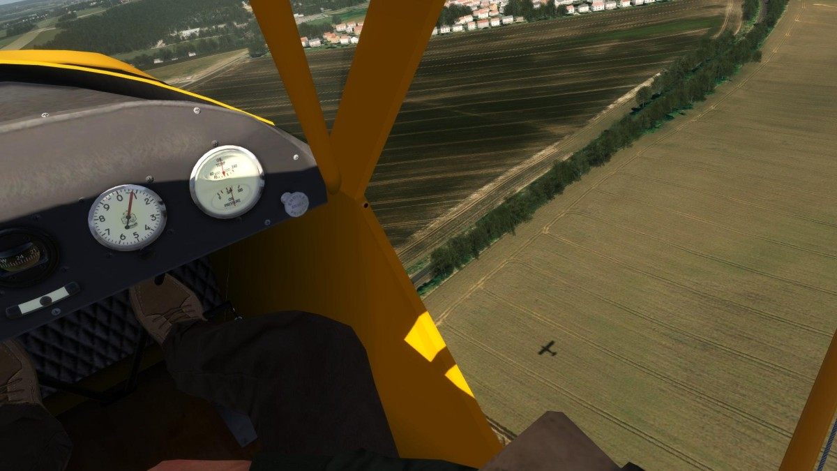 Late afternoon over Paris countryside - chasing my shadow