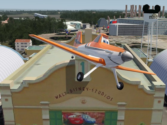Crop Duster above The 'Cars' exhibition-hall at Disney Studios next to Disneyland Paris