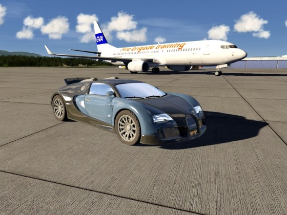 Airport Geneva - Bugatti Veyron EB 16.4 / 1,000 to 1,200 PS / 0 to 100 km/h in 2.5 s
