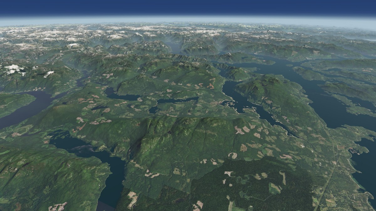 Flying in British Columbia - View from a very high altitude