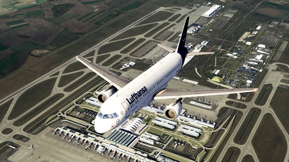 Muenchen airport-EDDM+overflying A320