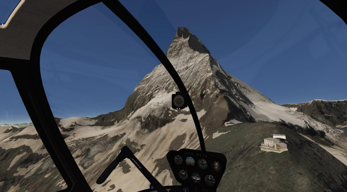 """Landing at the old """"Hörnlihütte"""", 3270 m, with view on the Matterhorn"""