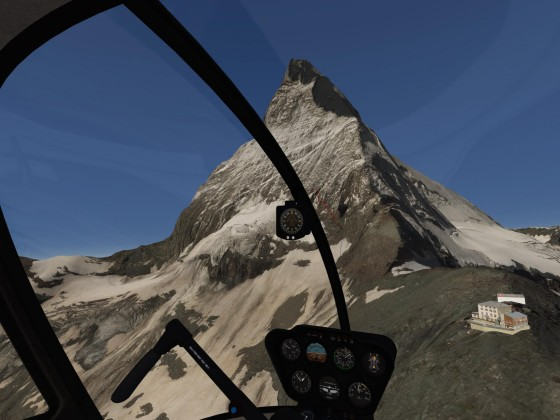 "Landing at the old ""Hörnlihütte"", 3270 m, with view on the Matterhorn"