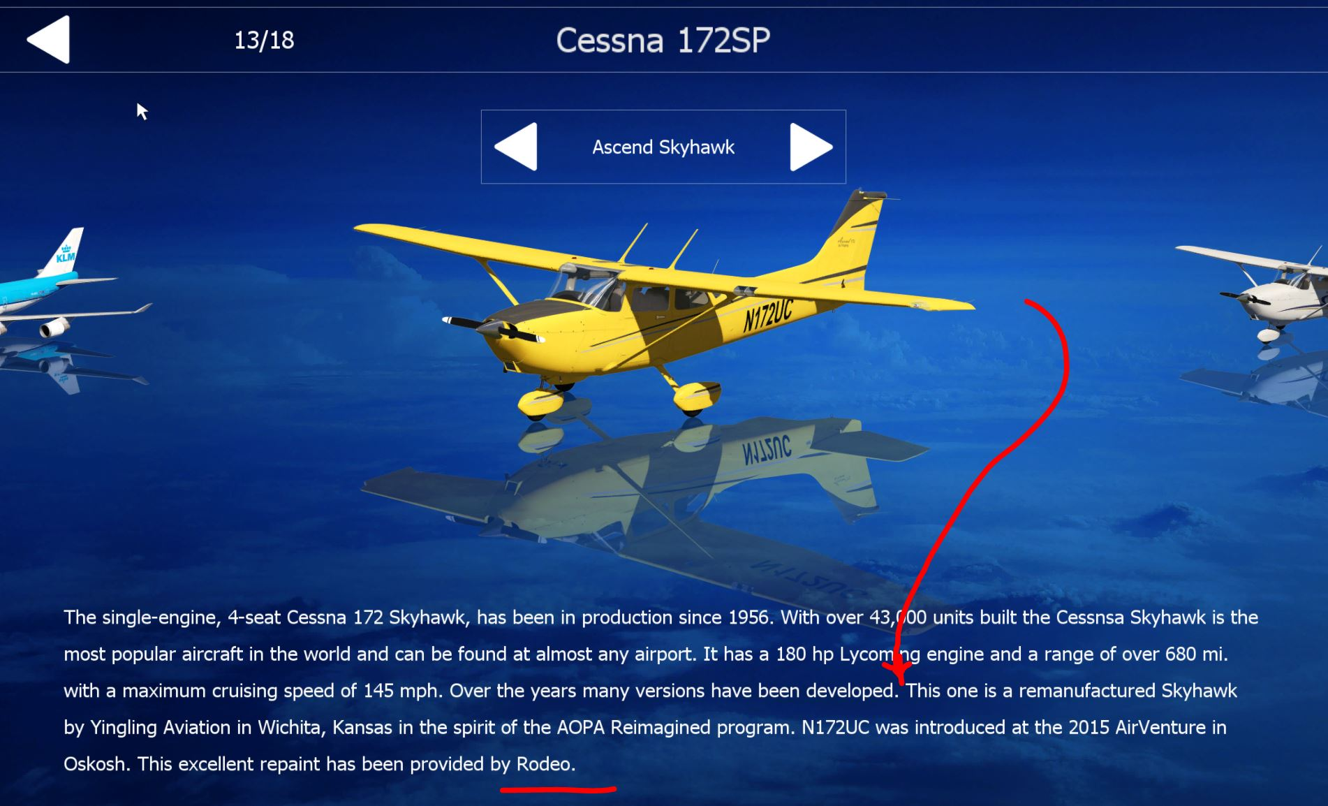 The First User repaint for the Cessna 172 provided by Rodeo